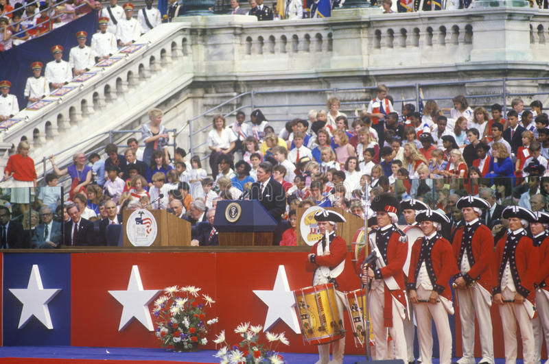 United States President Ronald Reagan. At the Bicentennial celebration, Washington D.C royalty free stock photography