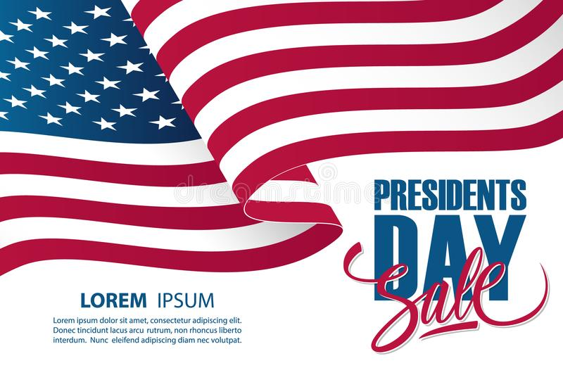United States Presidents Day Sale special offer banner template with waving american national flag. Holiday commerce background for business, promotion and vector illustration