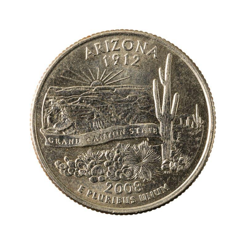1 united states quarter coin 2008 arizona obverse. Isolated on white background, specimen royalty free stock photos