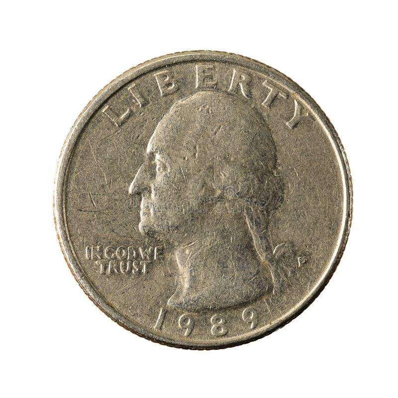 1 united states quarter coin 1989 reverse. Isolated on white background, specimen stock photos
