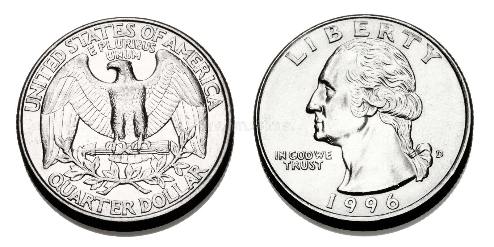Obverse and reverse of a United States Quarter Dollar. A United states Quarter coin, showing the obverse and reverse sides stock images