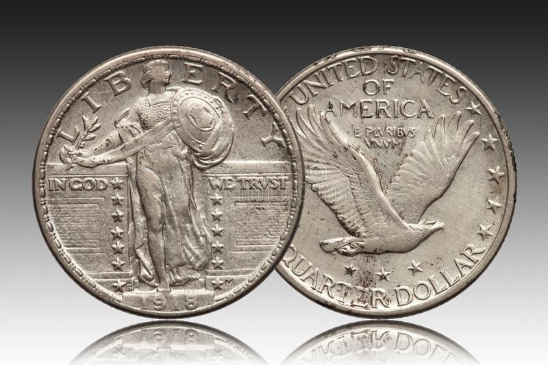 United States quarter dollar 1918 silver coin. Front liberty, back eagle royalty free stock photo
