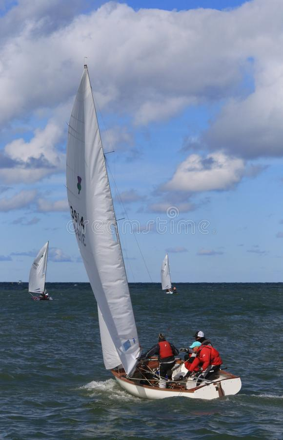 United States Sailing Association. Sailboat out in the open water at the United States Sailing Associations Championship of Champions Title at Edgewater Yacht stock photography