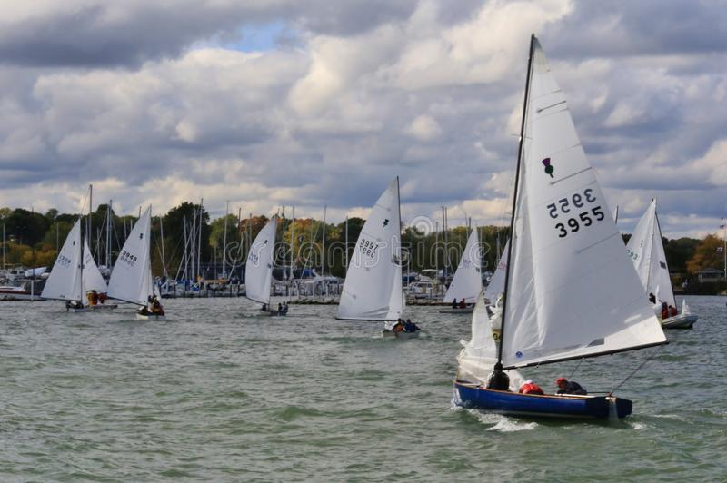 United States Sailing event. Sailboats at a racing regatta enter the marina at the United States Sailing Associations Championship of Champions Title at the royalty free stock image