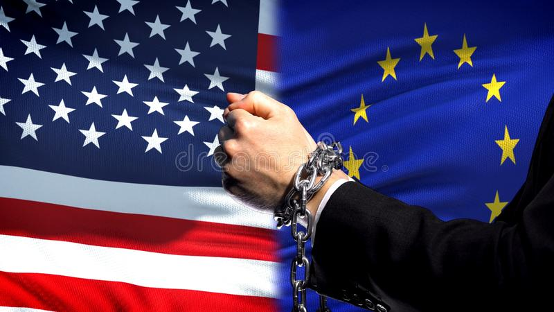 United States sanctions EU, chained arms, political or economic conflict. Stock photo stock photography