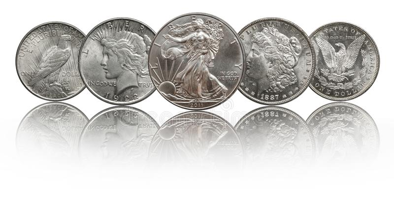 United states silver coins silver eagle, morgan and peace dollar. Conservation in mint stock photography