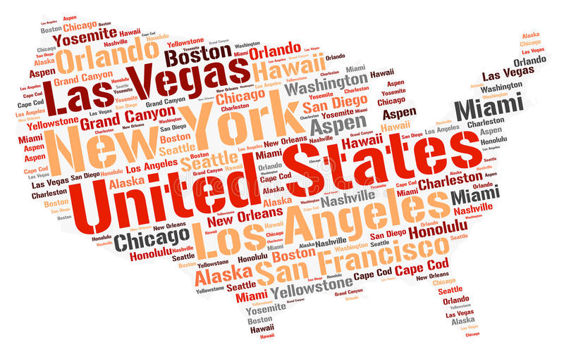 United States Top Travel Destinations Word Cloud Stock Illustration