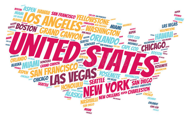 United States top travel destinations word cloud. United States map silhouette word cloud with most popular travel destinations stock illustration