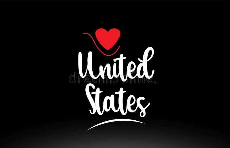 United States US country text typography logo icon design on black background stock illustration