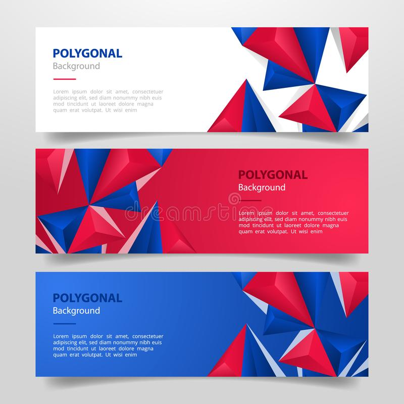 United states usa america flag set template banner with various red white and blue color horizontal layout - vector royalty free illustration