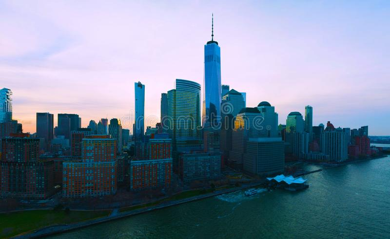 United States usa  janvier ,10, 2019  New York City Manhattan usa midtown aerial panorama view with skyscrapers and blue sky royalty free stock photography