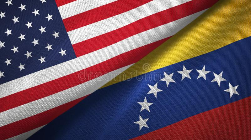 United States and Venezuela two flags textile cloth, fabric texture royalty free illustration