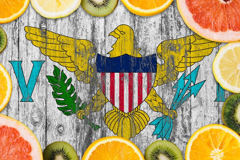 United States Virgin Islands food concept. Fresh fruits from traditional gardens. Cooking concept on wooden flag background. Eating, grocery, health royalty free stock image