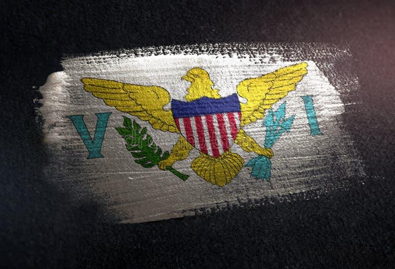 United States Virgin Islands señalan por medio de una bandera hecho de la pintura metálica o del cepillo imagen de archivo libre de regalías