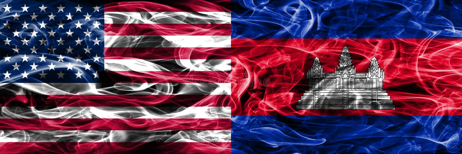 United States vs Cambodia smoke flags concept placed side by sid vector illustration