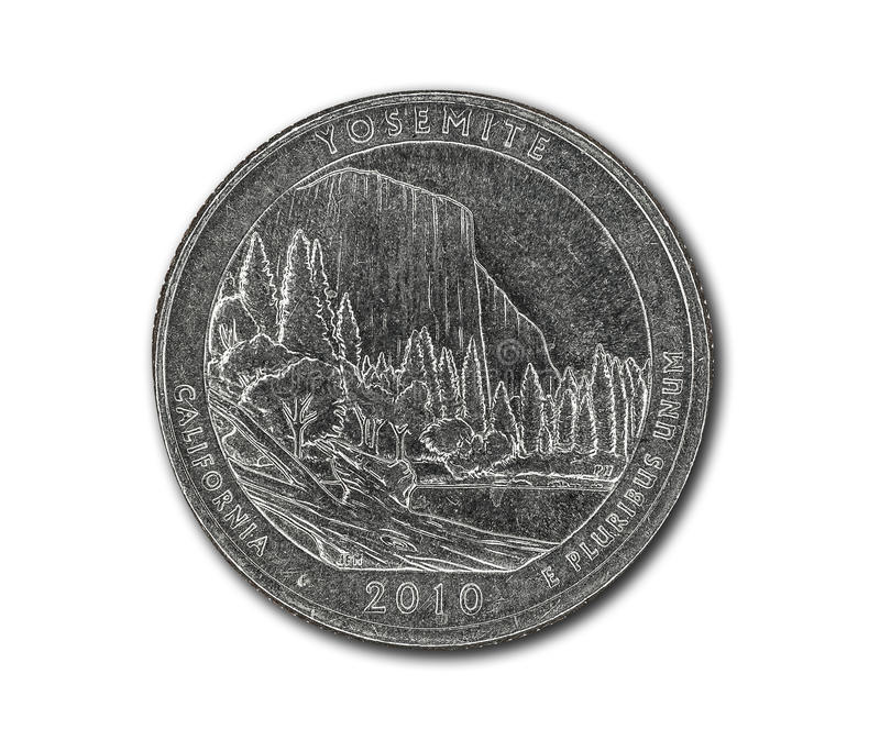 United States Yosemite quarter dollar coin on white. With path outline royalty free stock image