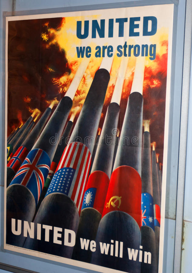 United Strong Poster. United poster: United we are strong. United we will win. Smithsonian National Museum of American History in Washington DC, United States of royalty free stock photos