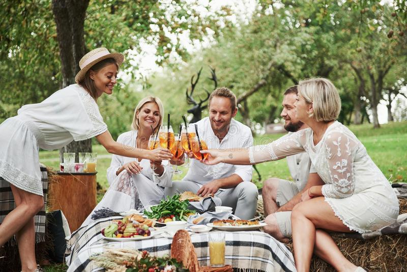 Unity of the close people. Friends drinks brand new fresh cocktails when sit on the field with trees stock photos