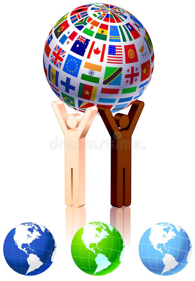 Unity Figures with Globe. Original Illustration stock illustration