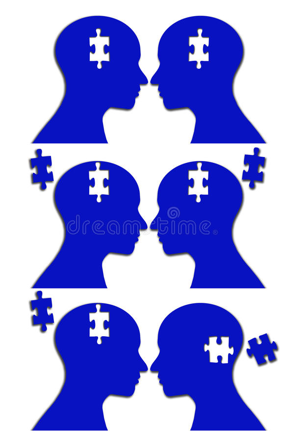 Unity jigsaw puzzle brain. Three image for the concept two people with one or different thoughts. The concept is illustrated by showing two heads in profile stock illustration