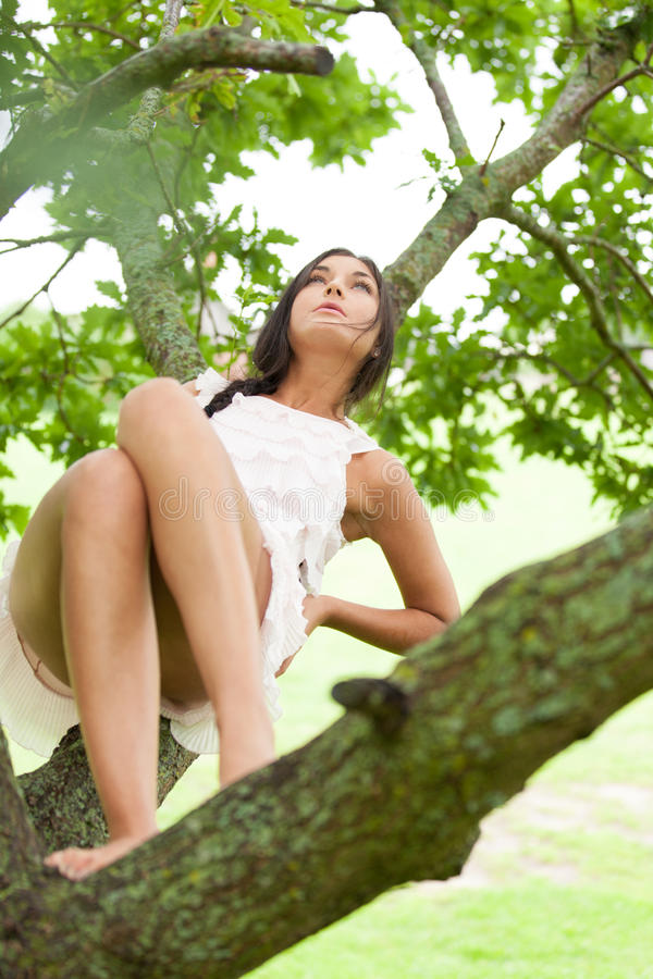 In unity with nature. Girl on oak's branch is in unity with nature stock images