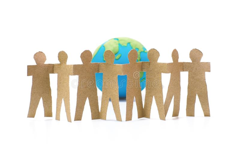 Unity of people and the earth symbol on white. Background stock photography