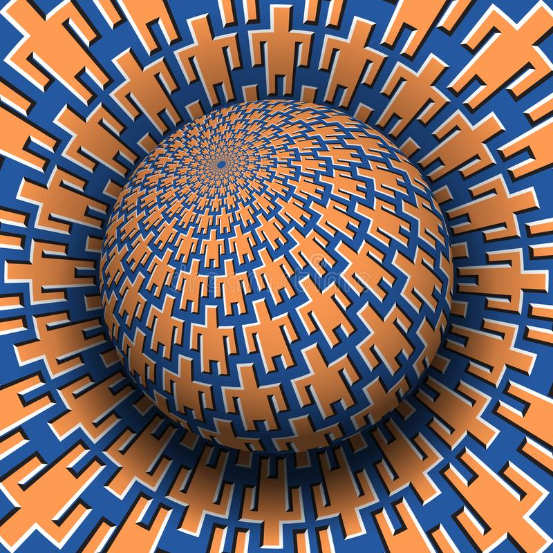 Unity of people optical illusion concept. Patterned sphere soaring over moving surface with men symbols royalty free illustration
