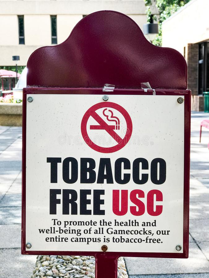 Univ. of South Carolina Campus Tobacco Free School Signs. Notifying students, faculty and guests that the school is smoke and dip free royalty free stock photos