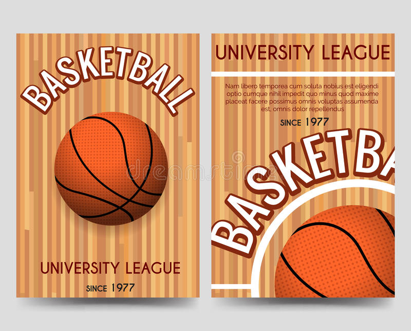 Univercity Basketball Flyer Template With Ball Stock Vector