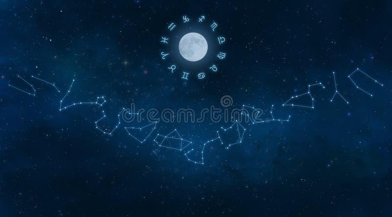 Univers avec des constellations de zodiaque illustration libre de droits