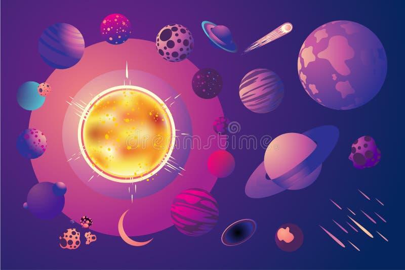 Univers avec des planètes de bande dessinée Ensemble d'objets de l'espace Clipart (images graphiques) de vecteur de système solai illustration de vecteur