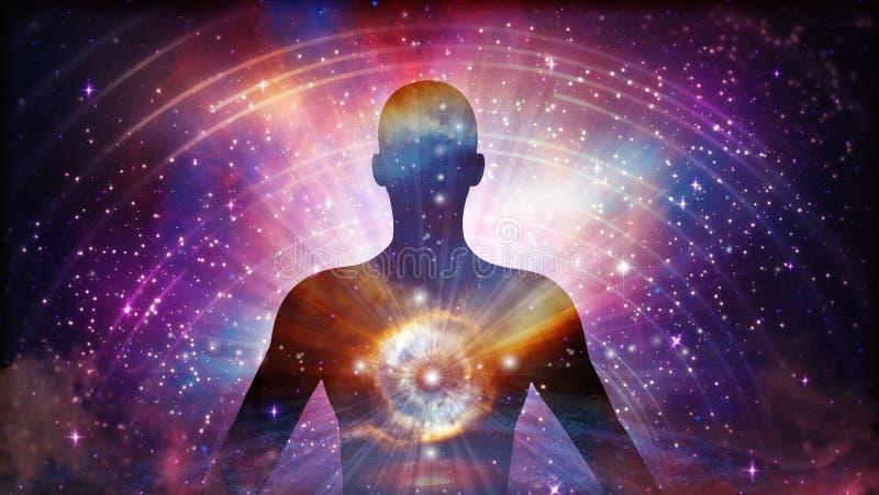 Univers d'homme, méditation, guérison, poutres d'énergie de corps humain