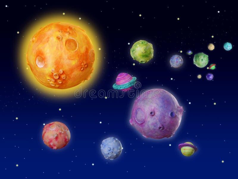 Univers fabriqué à la main d'imagination de planètes de l'espace illustration libre de droits