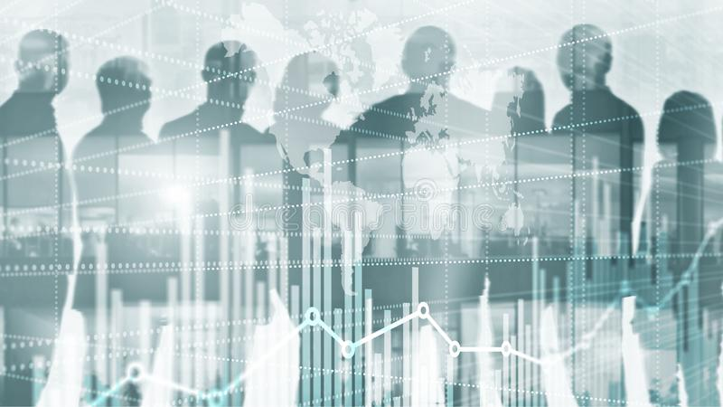 Universal Abstract background. Silhouettes of Business People. Economic growth graph chart. Double exposure mixed media.  royalty free stock images