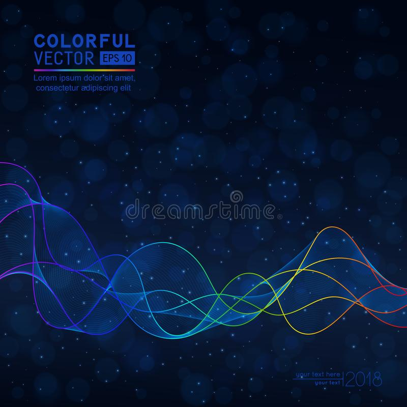 Universal Abstract Dark Blue Background with Wave Line on Bokeh stock illustration
