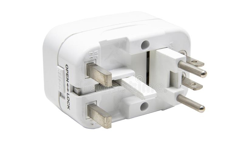 Universal adaptor isolate on white background with clipping.  royalty free stock photos