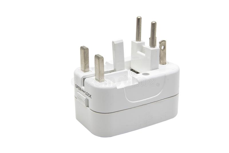 Universal adaptor isolate on white background with clipping.  stock photography