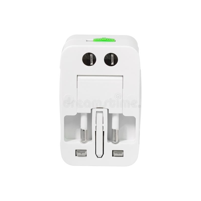 Universal adaptor isolated on white background. Europe and asia adapter for charger.  Clipping paths. Universal adaptor isolated on white background. Europe and stock image