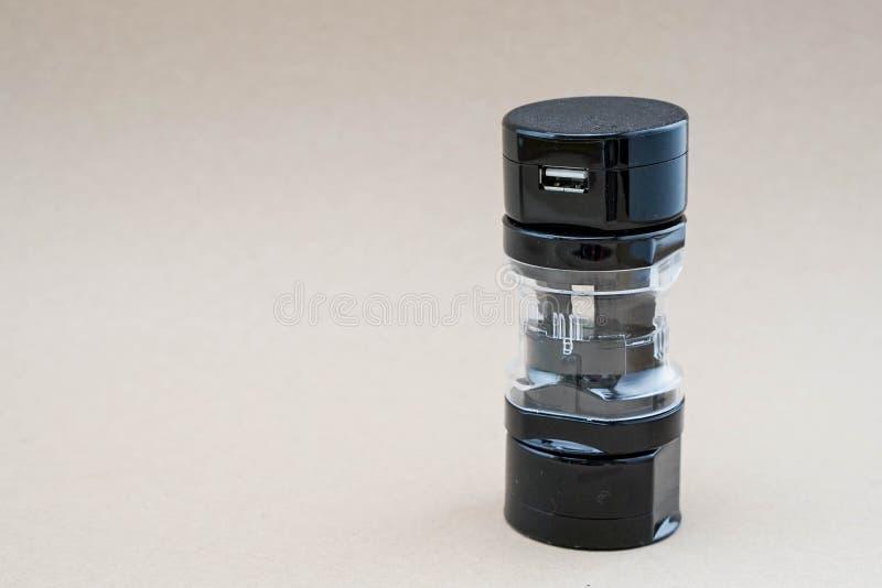 Universal adaptor set. Black universal adaptor set for travelling stock photography