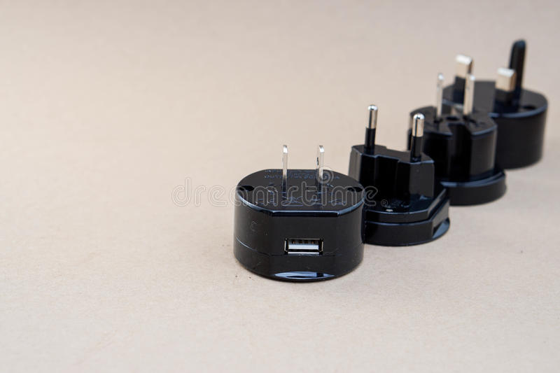 Universal adaptor set. For travelling stock image