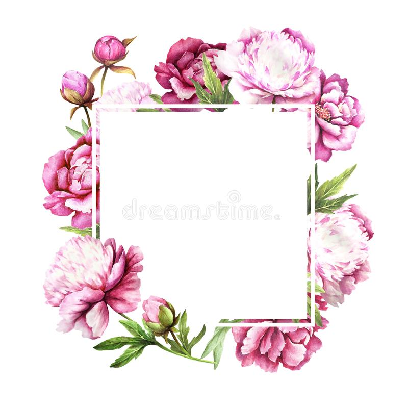Universal background with peonies. Hand draw watercolor illustration. Universal background with peonies. Hand draw watercolor illustration stock photo