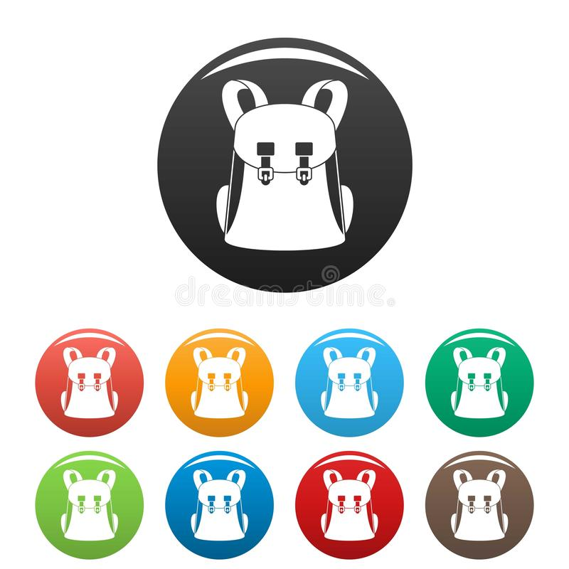 Universal backpack icons set color stock illustration