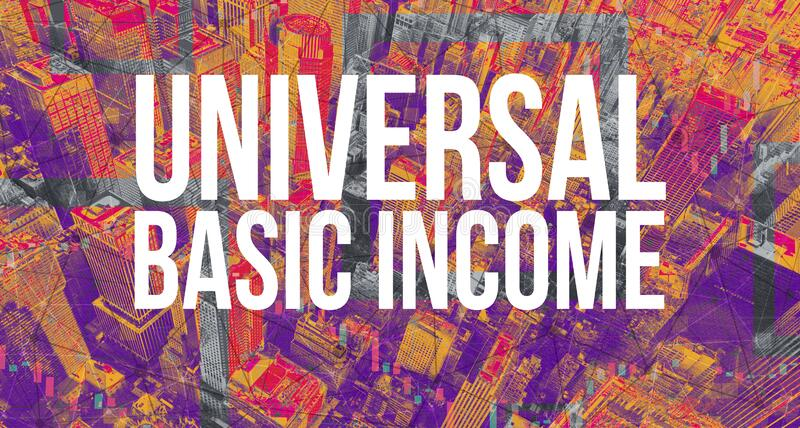 Universal Basic Income theme with Manhattan New York City. Skyscrapers vector illustration