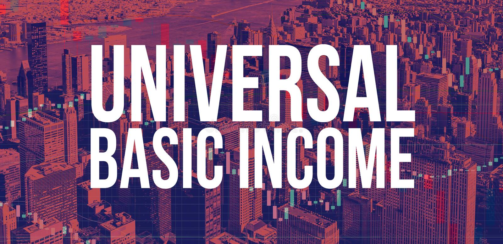 Universal Basic Income theme with New York City skyscrapers. Universal Basic Income theme with Manhattan New York City skyscrapers royalty free stock photos