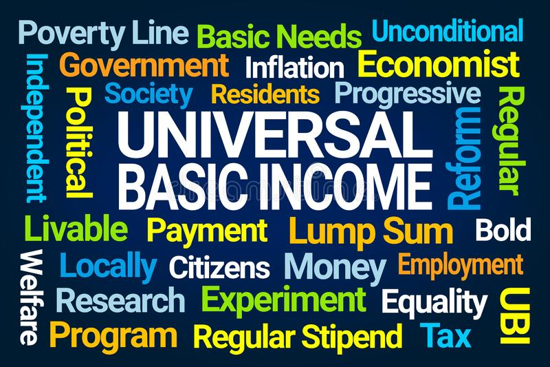 Universal Basic Income Word Cloud vector illustration