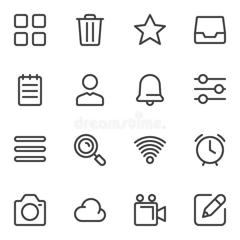 Universal basic line icons set vector illustration