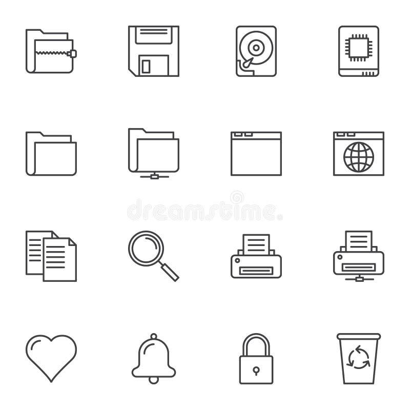 Universal basic line icons set royalty free illustration