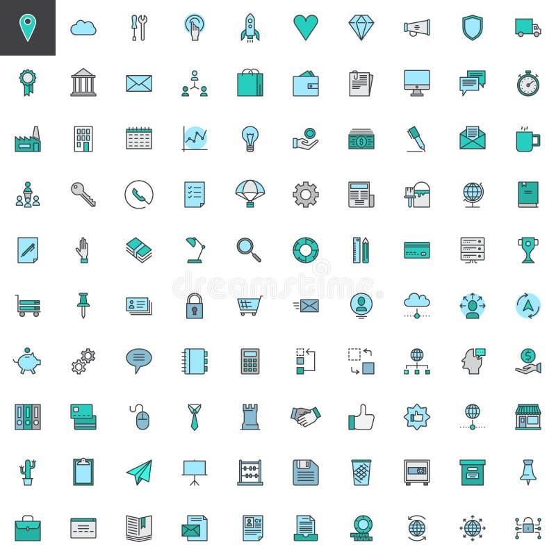 Universal business filled outline icons set stock illustration