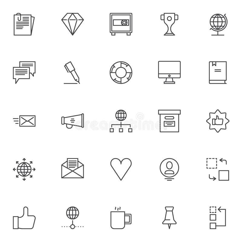 Universal business outline icons set vector illustration