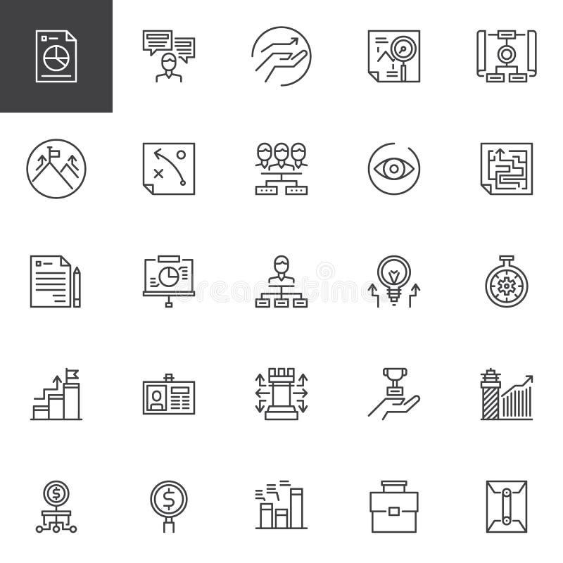 Universal business outline icons set stock illustration